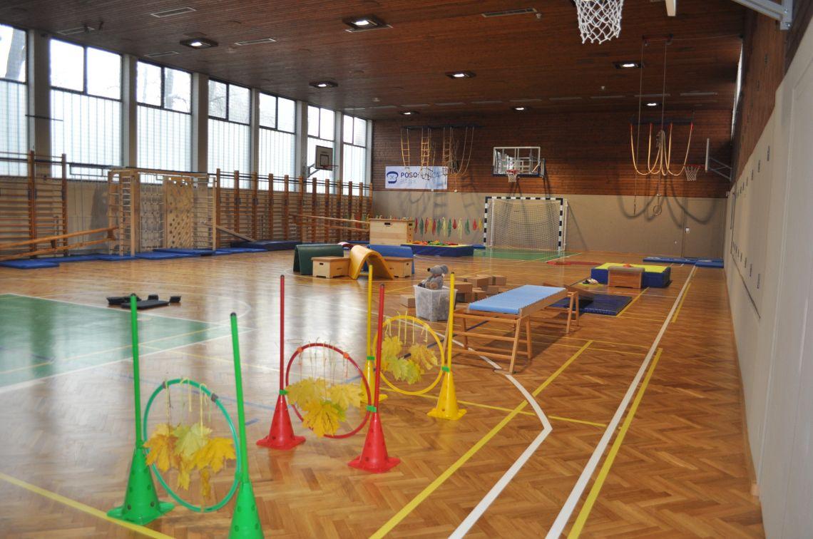 Vorbereitet für die Spiele im Turnsaal